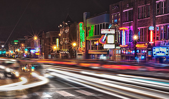 Nashville's Neon Lights of Broadway
