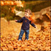 Kids playing in leaves in Nashville Tenessee