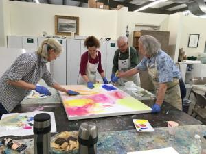 Painting with The Bird Lady class at Plaza Art