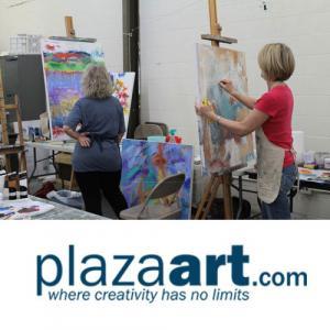 Beginning Acryllic Painting class at Plaza Art
