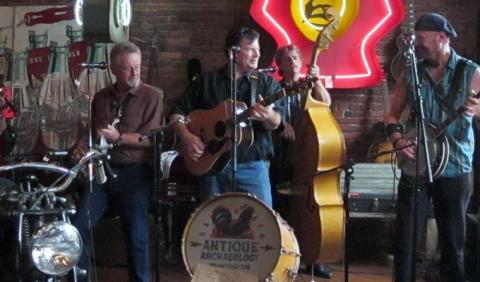 Reno & Harrell playing live bluegrass music in Antique Archaeology in Nashville Tennessee