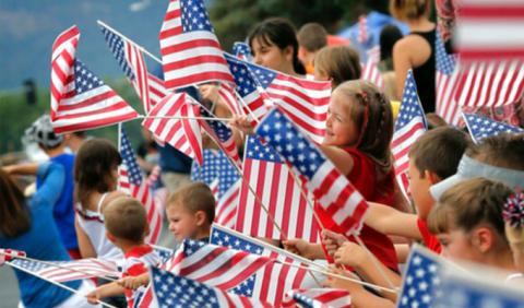 Kids at July 4th Parade in Nashville Tennessee