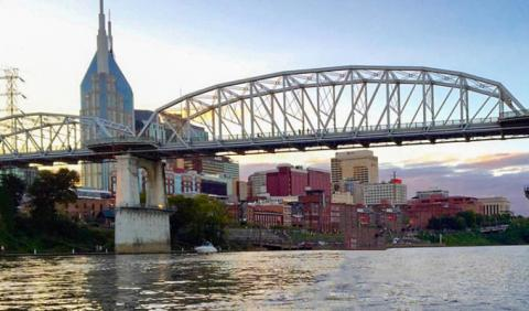 Sailing down the Cumberland River in Nashville Tennessee