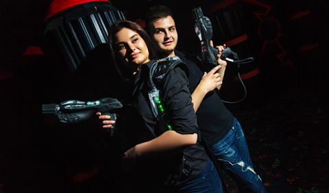 Couple playing laser Tag in Nashville