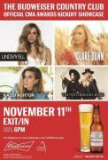 THE BUDWEISER COUNTRY CLUB, OFFICIAL CMA AWARDS MUSIC SHOWCASE, LANDS IN NASHVILLE NOVEMBER 11