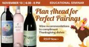 Educational Seminar: Thanksgiving Wines