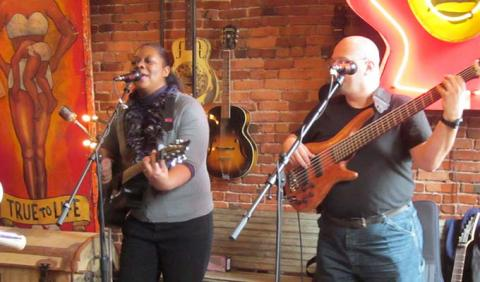 Sabrina & Tony playing Live Jazz at Antique Archaeology in Nashville Tennessee
