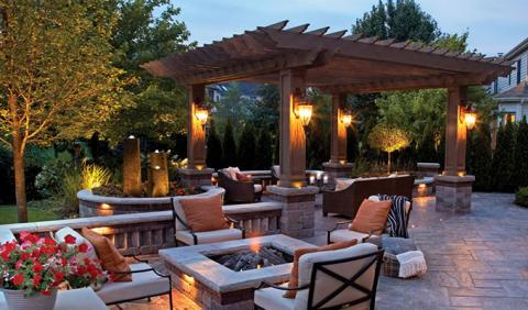 Beautiful Nashville Backyard with the perfect lighiting