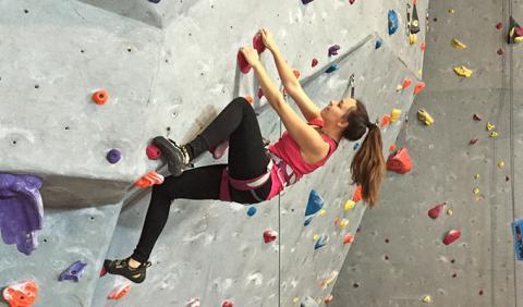Girl Rock Climbing in Nashville