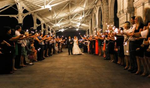 bride and groom walking at Union Station Hotel